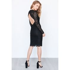 Bardot Open-Back Lace Midi Dress ($70) ❤ liked on Polyvore featuring dresses, long sleeve bodycon dress, long sleeve midi dress, bodycon midi dress, v neck lace dress and long-sleeve maxi dresses