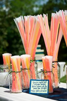 Love this idea! Wedding Glow Sticks!   Awesome pictures from the dance floor with everyone waving them around or as a fun alternative to sparklers for your exit picture.