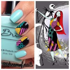Nightmare Before Christmas Nail Art - @idreamof_nails on Instagram