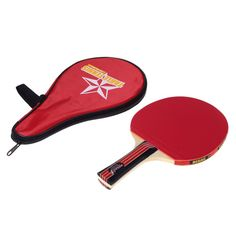 New Long Handle Shake-hand Table Tennis Racket Ping Pong Paddle + Waterproof Bag Pouch Red Indoor Table Tennis Accessory ZW-01 #Affiliate