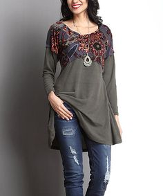 Another great find on #zulily! Olive & Charcoal Floral Empire-Waist Tunic #zulilyfinds