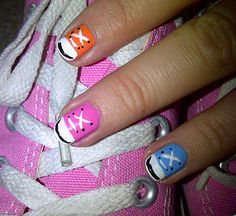 Converse Nails  Step by step guide.  Katie would love this.  I think she has Cons in all these colors plus some.