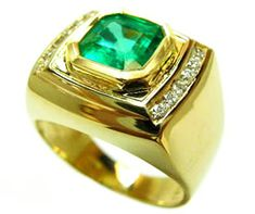 Men's emerald rings 14k gold emerald ring men