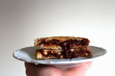 Toast with peanut butter and chocolate