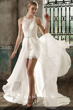 This stylish and fashionable sleeveless ivory short wedding dress is characterized with detachable chiffon overskirt around the waist, body-hugging lace bodice, and flounced chiffon chapel train sweeping the floor. Short Ivory Wedding Dress, Mini Wedding Dresses, Two Piece Wedding Dress, Princess Wedding Dresses, Perfect Wedding Dress, Wedding Dress Styles, Designer Wedding Dresses, Detachable Wedding Dress, Short Bridal Dresses