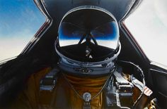 Possibly the best self-portrait ever! Here's Brian Shul in full flight suit gear inside the cockpit of the SR-71 Blackbird, the fastest and highest flying aircraft ever built. If I had to wear an astronaut's suit to work, I'd also want to capture the moment!