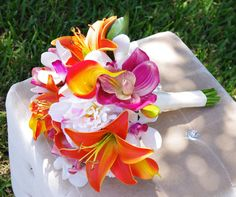 Tropical Wedding Bouquet  Lilies Callas Orchids and by Wedideas, $135.00