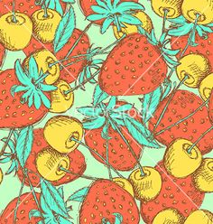 Sketch cherry and strawberry vector pattern - by kali13 on VectorStock®