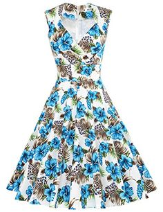 MUXXN Women s Retro Audrey Hepburn Style V Neck Swing Dress (Large  FloralBlue S). Frenzy Style Fashion · 1950 s Vintage Dresses 9043f1787f54
