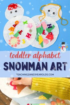 This simple toddler snowman art activity includes adding felt letters, exposing them to the alphabet in a fun, hands-on way! #snowman #toddler #art #literacy #alphabet #2yearolds #winter #teaching2and3yearolds Toddler Art, Toddler Preschool, Toddler Activities, Teaching The Alphabet, Teaching Art, Winter Activities, Literacy Activities, Art Classroom, Preschool Classroom