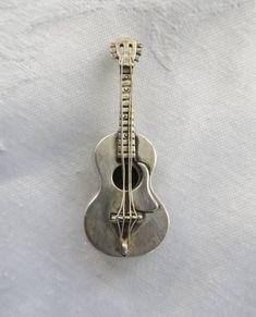 Sterling Guitar Brooch, Signed Beau Sterling, Vintage Guitar Pin, Musical Jewelry #guitarbrooch #guitarpin #steringguitar #musicaljewelry #musicalbrooch