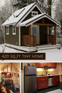 This beautiful and cozy cottage measures ft and includes a living room kitchen dining area &; This beautiful and cozy cottage measures ft and includes a living room kitchen dining area &; Tiny Cabins, Tiny House Cabin, Tiny House Living, Tiny House Design, Small House Plans, Living Room, Living In A Shed, Shed To Tiny House, Shed House Plans