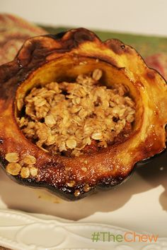Apple Crumble Stuffed Acorn Squash by Carla Hall The Chew Recipes, Fall Recipes, Cooking Recipes, Fruit And Veg, Fruits And Veggies, Vegetables, Vegetarian Main Course, Fall Dishes, Veggie Tales