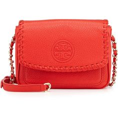 Tory Burch Marion Mini Flap Bag (1.535 RON) ❤ liked on Polyvore featuring bags, handbags, shoulder bags, massai red, woven handbag, flap handbags, chain shoulder bag, miniature purse and chain purse