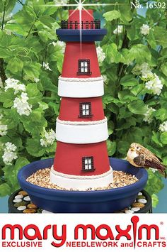An inexpensive craft project made with clay pots is a lighthouse for a garden decoration. This is a guide about making a terra cotta lighthouse. Flower Pot Crafts, Clay Pot Crafts, Diy Clay, Flower Pots, Diy Crafts, Yard Art, Clay Pot Lighthouse, Lighthouse Craft, Garden Lighthouse