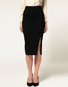 Enlarge ASOS Ponti Pencil Skirt With Thigh Split