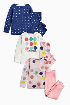 Buy Navy And Pink Character Snuggle Fit Pyjamas Three Pack (12mths-8yrs) from the Next UK online shop