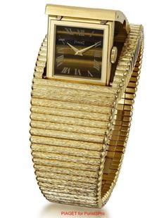 Piaget Vintage - Montre Clapet - Or jaune et Oeil de Tigre