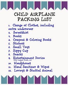 Flying with Children: Tips and Printable Packing Lists for Kids - The Chirping Moms - Free Child Airplane Packing List Printable. Flying with Children: Tips and Printable Packing Lists for Kids Vacation Packing, Packing Tips, Travel Packing, Travel Tips, Travel Ideas, Travel Hacks, Travel Stuff, Vacation Ideas, Travel Destinations