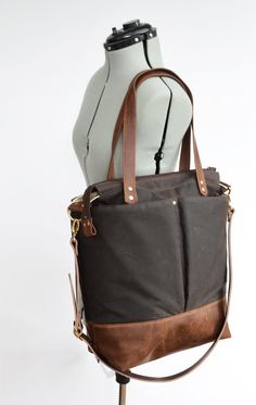 Black waxed canvas and leather diaper bag nappy bag by ForestBags