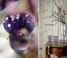 The Violet, an Equinox drink: 3 oz. vodka, 1 oz. violet liqueur, Tonic water, Ice cubes, Edible pansies (for garnish)...