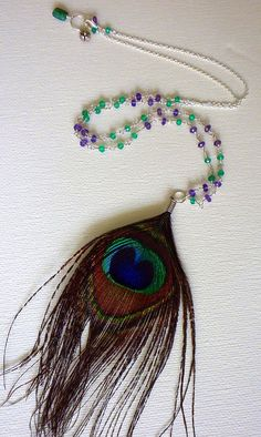 Items similar to BLACK FRIDAY SALE Feather Sterling Silver Amethyst and Green Onyx Protection Necklace on Etsy