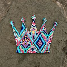 Hand Painted Lilly Pulitzer Inspired Wooden Crown by PreppyLillyPatterns Cute Etsy Listing ZTA sorority
