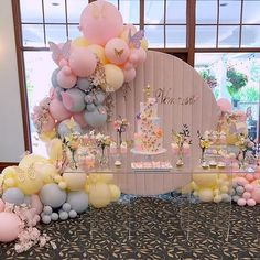 🦋 God Bless Vanessa 🦋 - Beautiful setup for a special little girl! Butterfly Garden Party, Butterfly Birthday Party, Butterfly Baby Shower, Girl Birthday Themes, Fairy Birthday Party, Baby Girl Shower Themes, Girl Baby Shower Decorations, 2nd Birthday Parties, Balloon Decorations