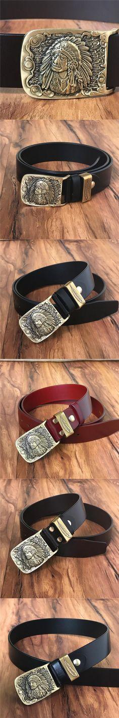Indian Belt Buckle Genuine Leather Men Belt Ceinture Homme Male Belt Luxury Cinturones Hombre Cowboy Jeans Strap Wide MBT0460