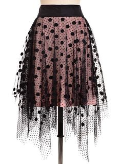 Dotted In Drama Vintage Inspired Ballerina Skirt by Ryu, Clothing, Black,Pink