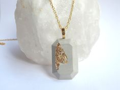 Cement Gem Necklace / cement jewelry / gold and cement / gifts for her / fashion jewelry/concrete jewelry by BlueSouth on Etsy