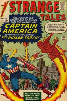 Strange Tales #114. The Human Torch v Captain America. Jack Kirby/Dick Ayers cover. Stan Lee's try out book before he revived Captain America in Avengers 4
