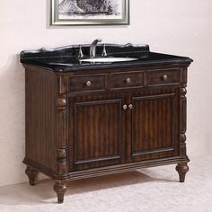 Legion Furniture Absolute Black Granite Top Single Sink Bathroom Vanity in Walnut (Absolute Black Granite Top, no faucet), Size Single Vanities Vanity Set With Mirror, Bathroom Vanity, Wood Sink, Mirror Backsplash, Legion Furniture, Vanity, Vanity Sink, Sink, Bathroom
