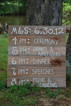 Personalized Wedding Signs Rustic Wedding Decorations Wedding Decorations - make this? Wedding 2015, Dream Wedding, Wedding Ideas, Wedding Reception Timeline, Wedding Photos, Diy Wedding Decorations, Wedding Receptions, Wedding Programs, Wedding Stuff