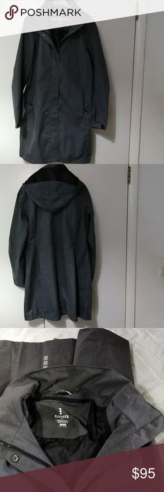 Elevate Sport Women's Hooded Coat. Elevate sport women's hooded coat.  Size : 2XL but I think it runs small. Gray.  Two front zippered pockets. Inside zippered  pocket. Polyester. Like  new.  No  tags. Elevate Sport Jackets & Coats Utility Jackets