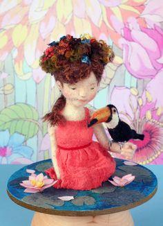 Precious needlefelted girl and bird