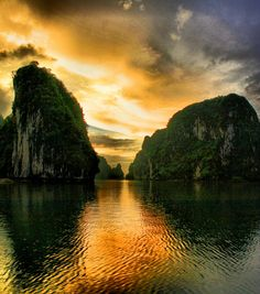 Halong Bay, Vietnam.  A UNESCO World Heritage Site