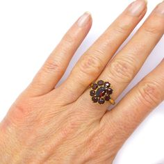 Vintage Garnet cluster ring 9ct/9K Dinner or Cocktail dress ring English Estate jewellery Special birthday or Anniversary *FREE SHIPPING* by vintagejewelbox on Etsy