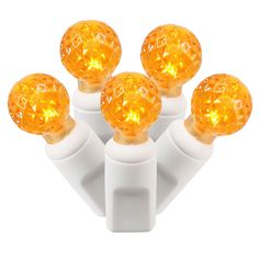 "Set of 100 Orange Commercial Grade LED G12 Berry Christmas Lights 4"" Spacing - White Wire"