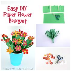 Supplies: one sheet green construction paper scissors piece of plain white paper pen or pencil to draw the flowers markers to color the flowers tape glue cup or vase (i.e., plastic drinking cup) Step 1.) Cut the green paper in half. Take one of the pieces and fold that in half the long way, or …