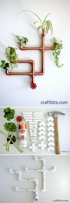 Check out how to make this cute #DIY #copper pipe wall planter #homedecor @istandarddesign