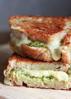 Artichoke Arugula Pesto Grilled Cheese | http://kitchentreaty.com http://@Kara Fransisco (Kitchen Treaty)