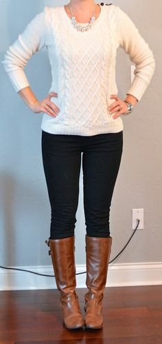 Cream cable knit sweater, black skinny jeans, brown boots - kinda cute