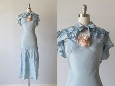30s Bias Cut Dress with Cape