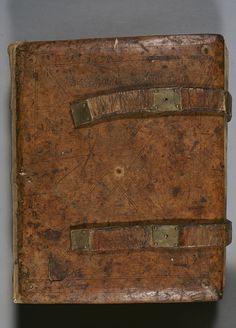 Front cover and inside of back cover of a German 12th century manuscript. The book is Diadema monachorum by Smaragdus.