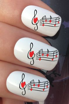 RED HEART MUSIC NOTE WATER TRANSFER TATTOO DECALS STICKERS #nails #nailart #nailartstickers