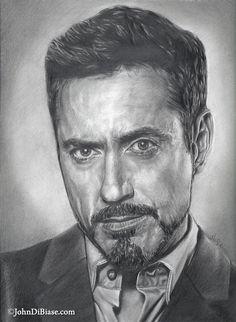 Robert Downey Jr. as Tony Stark {Iron Man} pencil portrait by John DiBiase