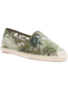 Valentino Floral Lace Espadrille in Green