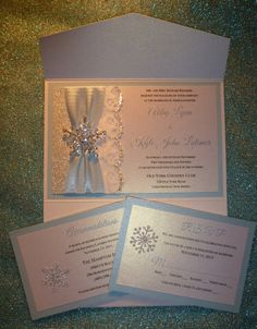 Winter Wedding Invitation with Raised by TheRainbowColors on Etsy