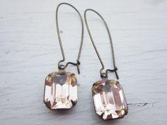 Vintage Earrings Peach Earrings Wedding Earrings by CRystalCRush